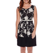 Tiana B. Sleeveless Floral-Print Belted Fit-and-Flare Dress