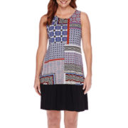 Tiana B. Sleeveless Patchwork Fit-and-Flare Dress