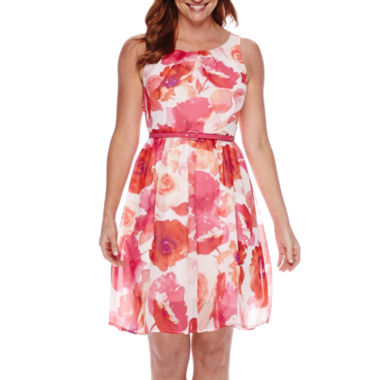 jcpenney.com | R&K Originals® Sleeveless Floral Chiffon Belted Fit-and-Flare Dress