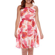 R&K Originals® Sleeveless Floral Chiffon Belted Fit-and-Flare Dress