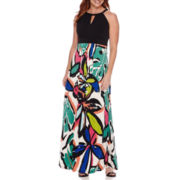 London Style Collection Sleeveless Halter Tropical Surplus Maxi Dress