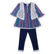 Little Lass® 3-pc. Boho Vest, Top & Leggings Set - Baby Girls newborn-24m