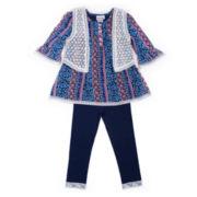 Little Lass® 3-pc. Boho Vest, Top & Leggings Set - Baby Girls newborn-24m
