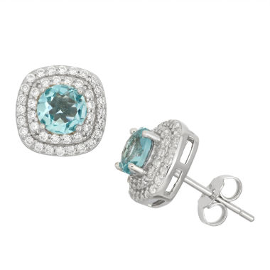 jcpenney.com | Simulated Blue Topaz & Cubic Zirconia Sterling Silver Earrings