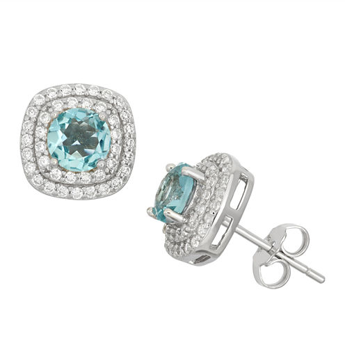 Simulated Blue Topaz & Cubic Zirconia Sterling Silver Earrings