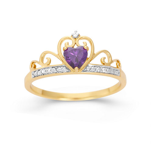 Simulated Heart-Shaped Amethyst & Cubic Zirconia 18K Gold Over Silver Ring