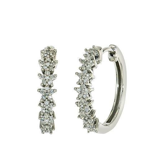 1/4 CT. T.W. Diamond Hoop Earring In 10K White Gold