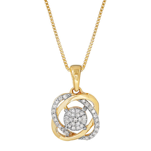 1/7 CT. T.W. Diamond 10K Yellow Gold Pendant Necklace