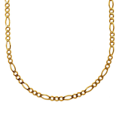 "Mens 18K Yellow Gold Over Silver 30"" Figaro Chain Necklace"