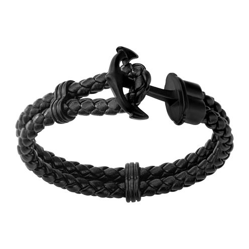 Inox® Jewelry Mens Stainless Steel & Black IP Leather Anchor Bracelet