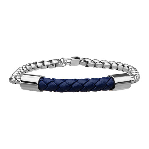 Inox® Jewelry Mens Stainless Steel Chain & Blue Leather Bracelet
