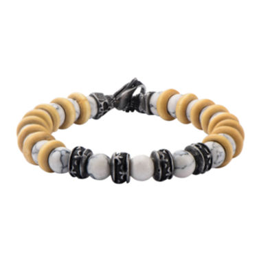 jcpenney.com | Inox® Jewelry Mens White Howlite Bead, Stainless Steel & Black IP Bracelet