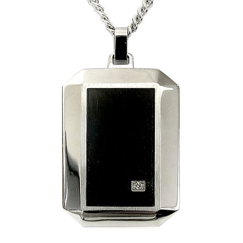 Mens Diamond Accent Two-Tone Stainless Steel Pendant