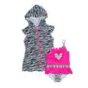 Wippette 2-pc. Zebra Swimsuit Set - Baby Girls newborn-24m