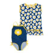 Wippette 2-pc. Daisy Swimsuit Set - Baby Girls newborn-24m