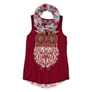 Arizona Chiffon-Back Graphic Tank Top with Scarf - Girls 7-16