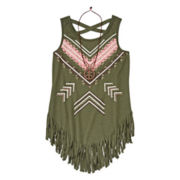 Arizona Fringe Grommet Tank Top and Necklace - Girls 7-16