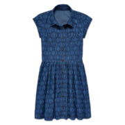 Arizona Short-Sleeve Ikat Denim Shirtdress - Girls 7-16 and Plus