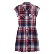 Arizona Short-Sleeve Plaid Shirtdress - Girls 7-16