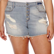 Arizona High-Rise Destructed Denim Shorts - Juniors Plus