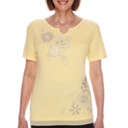 Alfred Dunner® Santa Clara Short-Sleeve Floral Embroidery Sweater - Petite