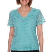 Alfred Dunner® Sanibel Island Short-Sleeve Lace Front Tee - Petite