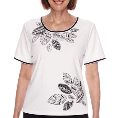 jcpenney.com | Alfred Dunner® Short-Sleeve Leaf Embroidery Knit Top - Petite