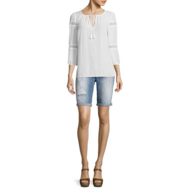jcpenney.com | I 'Heart' Ronson® 3/4-Sleeve Lace Inset Blouse or Bermuda Shorts