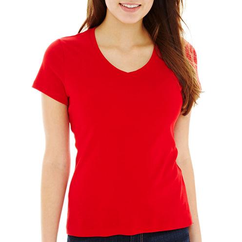 St. John's Bay® Short-Sleeve V-Neck T-Shirt- Petite