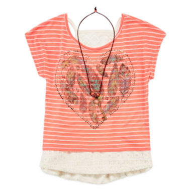 jcpenney.com | Beautees 3-pc. Lace Tank Top with Striped Graphic Tee and Necklace - Girls 7-16