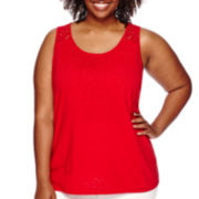 St. John's Bay® Lace-Yoke Tank Top - Plus