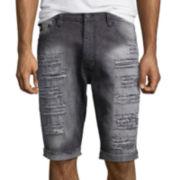 Southpole® Ripped Slim-Fit Denim Shorts