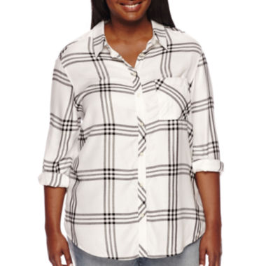 jcpenney.com | Arizona Long-Sleeve Boyfriend Plaid Shirt - Plus