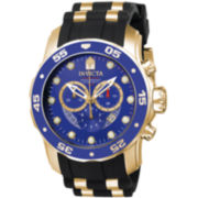 Invicta® Pro Diver Mens 18K Gold-Plated Blue Chronograph Watch 6983