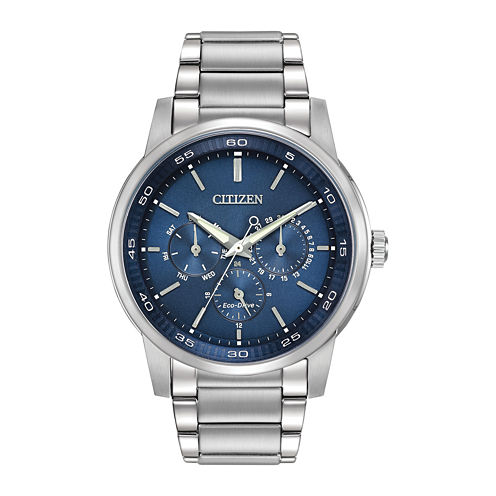 Citizen® Eco-Drive® Mens Blue Dial Stainless Steel Watch BU2010-57L
