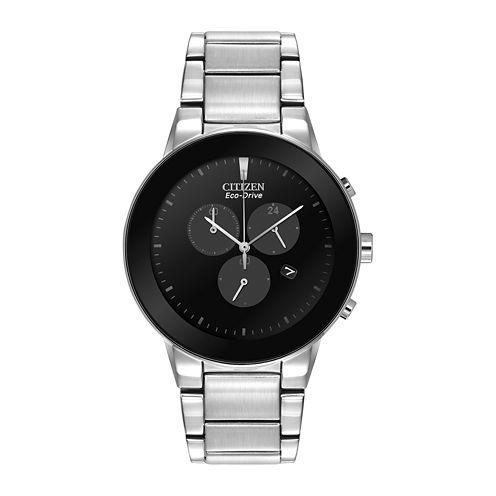 Citizen® Eco-Drive® Axiom Mens Silver-Tone Chronograph Watch AT2240-51E
