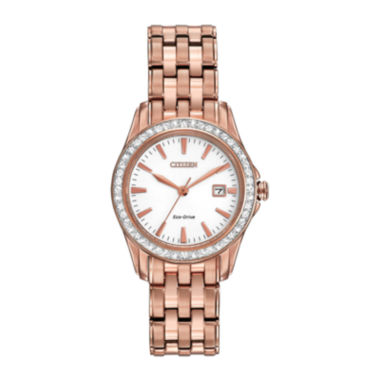 jcpenney.com | Citizen® Eco-Drive® Womens Rose-Tone Crystal-Accent Watch EW1903-52A