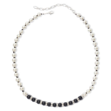 jcpenney.com | Vieste® Jet Black Stone & Simulated Pearl Necklace