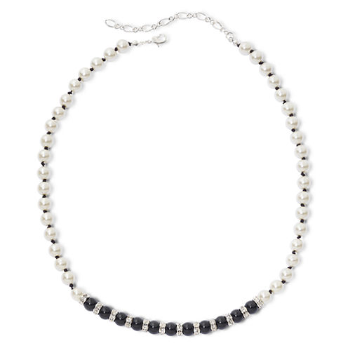 Vieste® Jet Black Stone & Simulated Pearl Necklace