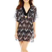 Arizona Chevron Print Chiffon Kimono Cover-Up Dress
