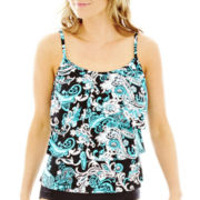 Jamaica Bay® Paisley Print 3-Tier Tankini Swim Top