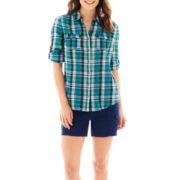 St. John's Bay® Gauze Campshirt or Utility Cargo Shorts