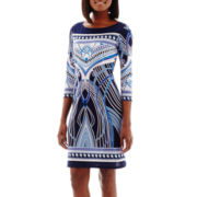 Tiana B. 3/4-Sleeve Border Print Knit Shift Dress