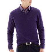 Claiborne® Solid Cotton-Cashmere Pullover Sweater