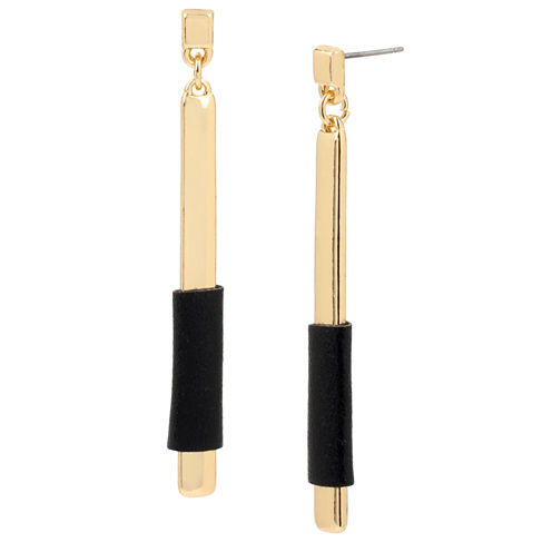 Bleu™ Black Wrapped Gold-Tone Stick Linear Earrings