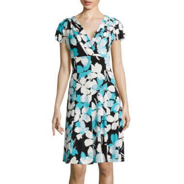 jcpenney.com | London Style Collection Short-Sleeve Floral Fit-and-Flare Dress - Petite