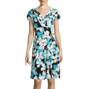 London Style Collection Short-Sleeve Floral Fit-and-Flare Dress - Petite
