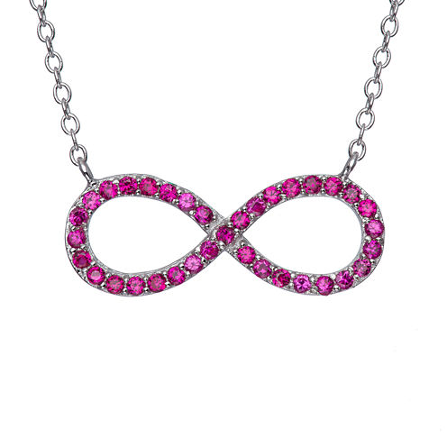 Simulated Ruby Sterling Silver Infinity Necklace