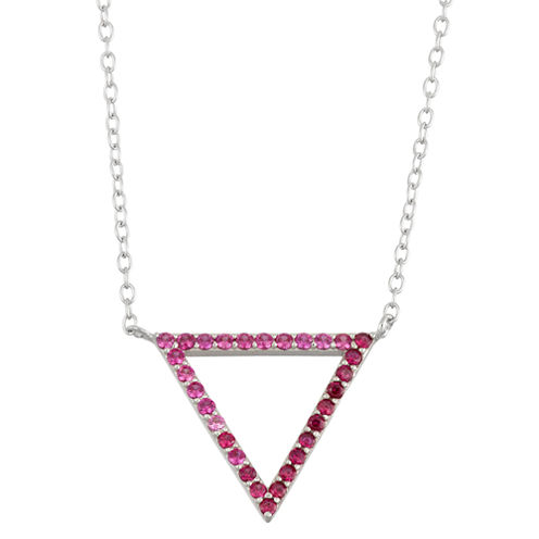 Simulated Ruby Sterling Silver Open Triangle Necklace