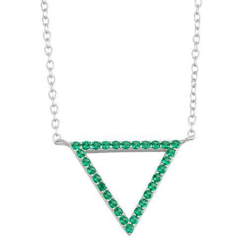 Simulated Emerald Sterling Silver Triangle Pendant Necklace